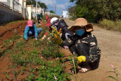 Nhà trường tổ chức thực hiện dọn vệ sinh, lao động trồng hoa cùng với hội phụ huynh nhà trường tổ chức làm sân tạo môi trường xanh sạch đẹp.